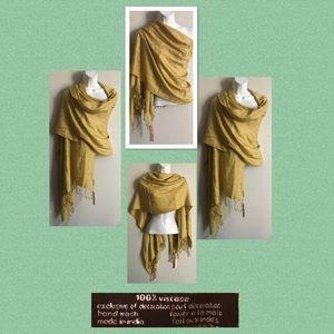 Yellow Shawl/Scarf/Wrap with Fringe